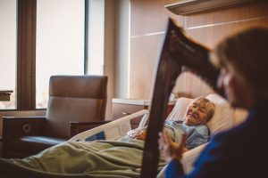 Patient joy from hearing live therapeutic music played by Barbara Lepke-Sims