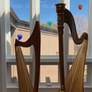 Dual harps used for teaching harp lessons.