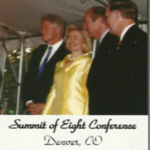"""Barb the harpist playing for the """"Summit of 8"""" conference and former President Bill Clinton."""