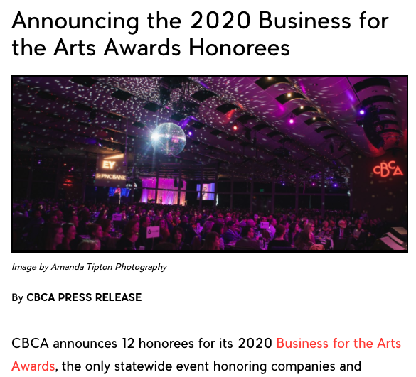 Business for the Arts Awards Honorees