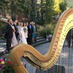 Barbara playing wedding harp music at the St. Regis in Aspen.
