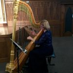 Barbara playing harp at a wedding at the Temple Event Center in Denver, Colorado.