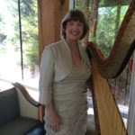 Barbara playing harp wedding music in Dallas, Texas.